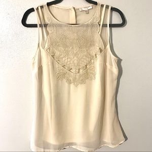 KENAR Sleeveless Sheer Embroidered Blouse Tank Top